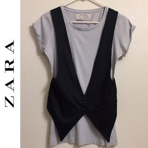 Zara Collection Basic T shirt faux vest tee